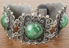 Vintage Mexican Sterling Silver jewelry hand made Mexico 5 panel bracelet with natural green stones Hecho en Mexico on Etsy, $169.00