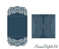 Invitación de la boda 5 x 5'' puerta doble por NarisariDigitalArt