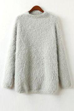 Round Neck Long Sleeve Fuzzy Sweater
