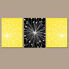 DANDELION Wall Art CANVAS or Prints Black YELLOW by TRMdesign