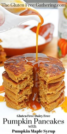 The Gluten Free Gathering - Gluten Free Pumpkin Pancakes (Dairy Free) with Pumpkin Maple Syrup - light, fluffy, and pumpkin spice filled pancakes do exist! These delicious pancakes are amazing. Top them homemade pumpkin maple syrup for a wonderful fall Dairy Free Pumpkin Recipes, Gluten Free Pumpkin Pancakes, Dairy Free Pancakes, Tasty Pancakes, Gluten Free Desserts, Gluten Free Baking, Healthy Pumpkin Recipes, Gluten Free Recipes For Breakfast, Pancake Recipes