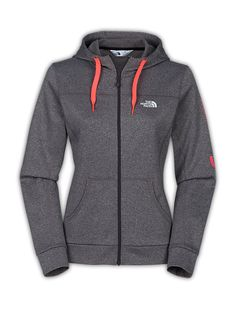 The North FaceWomen'sShirts & TopsWOMEN'S Run NYC FAVE-OUR-ITE FULL-ZIP HOODIE   Size L Color Gray & Coral