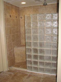 bathroom rustic modern glass block - Google Search