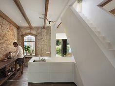 white and brick kitchen