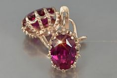 Details about  /1.5ct Heart Cut Simulated Ruby Stone Real 18k Pink Gold Earrings Push back