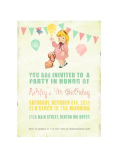 Digital PRINTABLE Vintage Celebrate Birthday Tea Party Girl Daughter Princess Children Baby Shower Nursery Invitation Label Cards Sheet IN11. $10.00, via Etsy.