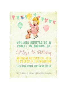 Digital PRINTABLE Vintage Celebrate Birthday Tea Party Girl Daughter Princess Children Baby Shower Nursery Invitation Label Cards Sheet IN11. $10.00, via Etsy.