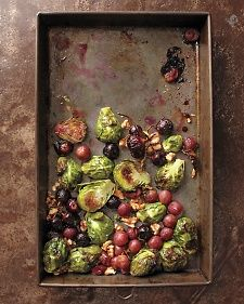 Roasted Brussels Sprouts and Grapes with Walnuts | Whole Living - made this today and it was delicious!! I roasted it for about 35 minutes because I like my sprouts more charred - and tossed in the walnuts for the last 5 minutes or so. I highly recommend!