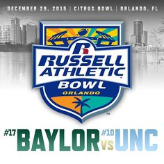 It's official: No. 17 Baylor will face No. 10 North Carolina in the 2015 Russell Athletic Bowl in Orlando, Florida.