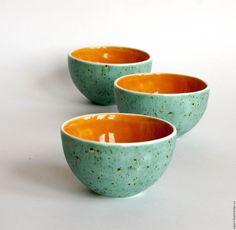 """Купить Комплект пиал """"Скоро осень"""" - оранжевый, керамика ручной работы, посуда ручной работы"""