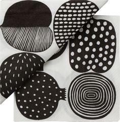 "Set of 20 Marimekko Kompotti White and Black Paper 6.5"" Napkins    Crate"