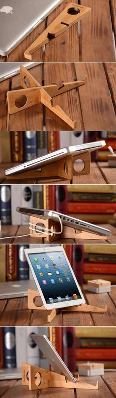 Portable Bamboo Wooden Desktop Folding Holder Stand for Apple MacBook Tablets iPad Laptop