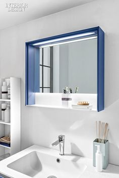 Zero LED-lit mirror with lacquered larch frame by Hastings Tile & Bath