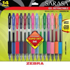 For the Chief Home and Work Organizers, the Sarasa line delivers a flowing ink experience, Rapid Dry Ink Technology, and noticeable color vibrancy allowing for maximum creativity and organization. Dri