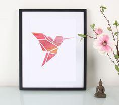 Digital printing – Artprint / Origami / Kolibri / Aquarell – a unique product by Eulenschnitt on DaWanda Origami Hummingbird, Origami Bird, Origami Paper, Origami Tattoo, Fuchs Tattoo, Polygon Art, Art Diy, Useful Origami, Art Plastique
