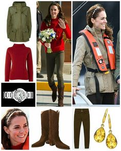 """◇30 September 2016◇ □ Outfit info □ {For their second engagement in Haida Gwaii} :: The couple took a boat ride on the Highlander Ranger from the Queen Charlotte boat launch.William and Kate enjoyed a spot of fishing.  For the boat ride, Kate changed into theReally Wild Clothing Cashmere Mix Cable Crew Sweater in ruby.The £195 sweater is described as """"This relaxed fit jumper is a modern way to wear Really Wilds beautiful knitwear. With a stylish cable knit detail and thick ribbed collar…"""