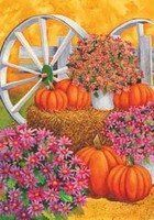 """Pumpkin Wagon - Garden Size 12 Inch X 18 Inch Decorative Flag by Custom Decor. $3.95. Garden Flag Outdoor Décor. 100% Polyester - Fade & Mold Resistant. Bright Beautiful Artwork. Flag Measures Approximately 12"""" x 18"""". Permanently Dyed with a Vivid Color Process. #################################################################################################################################################################################################################..."""