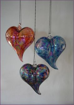 Hand-blown Glass Hearts, lovely