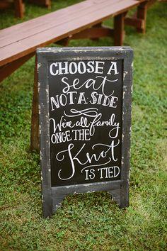 choose a seat, not a side | Kati Mallory #wedding