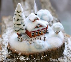 """Buy and order Felt miniature. The birthplace of WINTER """"winter Morning"""" on Livemaster online shop. Felt Christmas, Christmas Crafts, Christmas Decorations, Christmas Ornaments, Christmas Houses, Christmas Candles, Christmas Centerpieces, Needle Felted Animals, Felt Animals"""