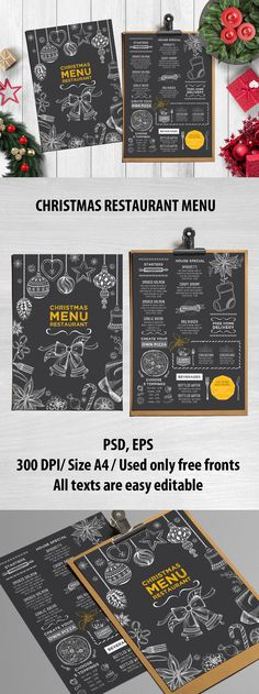 Christmas Menu Restaurant Template Vector EPS, PSD