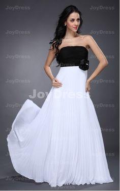 Double Colours A-line Strapless Floor-length Dress