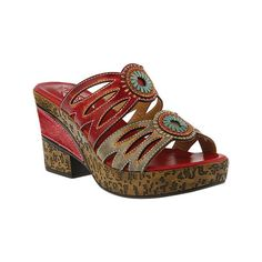 Women's L'Artiste by Spring Step Beverly Wedge Slide ($90) ❤ liked on Polyvore featuring shoes, sandals, casual, casual footwear, red, slip on wedge sandals, red wedge shoes, slip on sandals, wedge shoes and red wedge sandals
