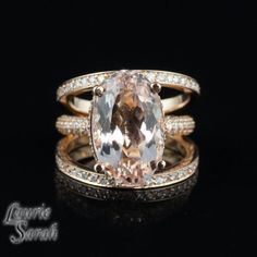 Rose Gold Morganite Halo Ring 7 carat by LaurieSarahDesigns  large, but SO PRETTY!