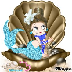 betty boop mermaid in clam shell