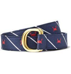Thom Browne - 3cm Crab-Patterned Silk-Jacquard Belt