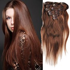 Clearance Low Price 4# Color Straight 7Pcs Clip In Human Hair Extension Wefts #HairExtension