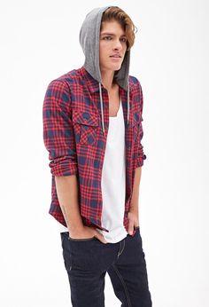 Flannel Hoodie Jacket #21Men