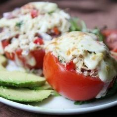BREADLESS TUNA MELT IN A TOMATO (LOW-CARB, HIGH PROTEIN, NO MAYO)