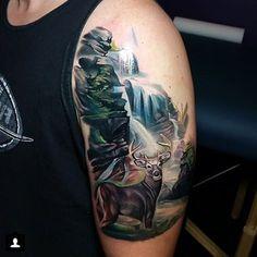 70 waterfall tattoo designs for men - glistening ink ideas Upper Arm Tattoos, Arm Tattoos For Guys, Leg Tattoos, Body Art Tattoos, Sleeve Tattoos, Tatoos, Forest Tattoo Sleeve, Forest Tattoos, Tasteful Tattoos