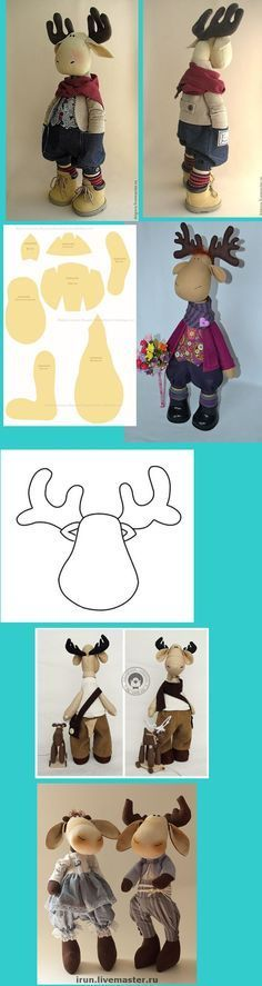 Cute moose pattern for a cuddly toy