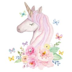 This Watercolour Unicorn Head Wall Sticker is a beautiful addition to any unicorn themed room. Unicorn Head, Unicorn Art, Cute Unicorn, Magical Unicorn, Unicorn Painting, Unicorn Drawing, Unicorn Images, Unicorn Pictures, Wall Stickers Wallpaper