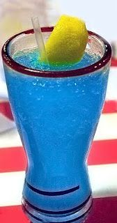 Ultimate Electric Lemonade! SOOO DELICIOUS!  Ingredients:   1¼ ounces vodka  1 ounce blue curacao liqueur  4 ounces (½ c) sweet & sour mix   Splash Sprite  Garnish:  Lemon wedge