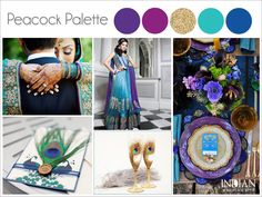 Peacock Indian Wedding Color Palette - Adding little peacock theme touches like feathers and using colors such as teal, blue, purple and gold can make a huge impact.