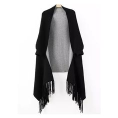 Women Fringe Black Poncho Sweater ❤ liked on Polyvore featuring tops, sweaters, fringe poncho sweater, poncho style sweater, poncho tops, fringe ponchos and poncho sweater
