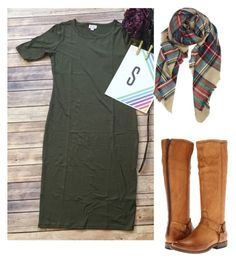 """""""Small olive green LuLaRoe dress for sale lularoe posh peonies"""" by shanna-rather-min on Polyvore featuring Frye"""