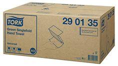 TORK 290135 Hand Towel, Singlefold System, Green (Pack of 20)