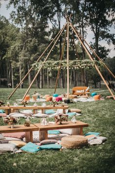 Festival Wedding with Naked Tipi Chill Out Area, Lace Bridal Separates, Feather Flower Crown and Protea Bouquet, shot by Serafin Castillo Pagan Wedding, Tipi Wedding, Wedding Seating, Wedding Blog, Flower Festival, Festival Wedding, Festival Decorations, Wedding Decorations, Decor Wedding