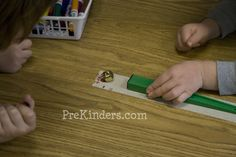 """How Far Will a Magnet Jump? Have the magnets start at the same place, then have children use a magnetic wand to """"jump"""" the objects and mark on the tape how far the object jumped. Experiment with different objects to compare and contrast."""