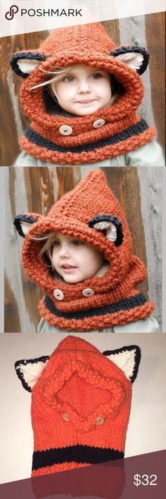 Kids crocheted knitted orange fox ears winter hat Kids crocheted knitted orange fox winter hat with cute ears and accent buttons. So cute! Adorable winter hat is made for children but will fit an adult, too. Makes a great Christmas, birthday or holiday gift. Smoke free home. (A33) Kerry On Fashions Accessories Hats