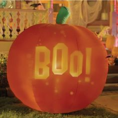 No more messy carved pumpkins to deal with! This 5-ft Inflatable Projection Pumpkin displays multiple images that look like they've been carved into the pumpkin.