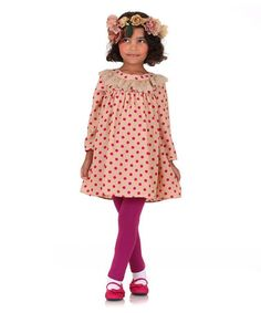 Look at this #zulilyfind! Beige Polka Dot Babydoll Dress & Pink Leggings - Toddler #zulilyfinds