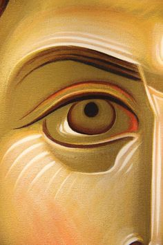 EASTERN ORTHODOX ICON PAINTING EYE DETAIL