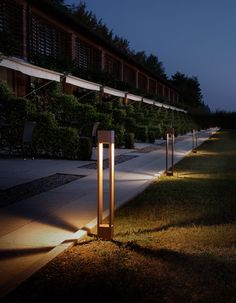 Discover Torch, stainless steel outdoor lamp port with LED light. Driveway Lighting, Exterior Lighting, Bamboo House Design, Modern House Design, Cool Lighting, Outdoor Lighting, Park Lighting, Floating Entertainment Center, Landscape Lighting Design