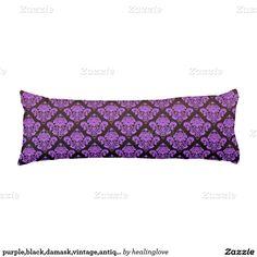 purple,black,damask,vintage,antique,pattern,chic,e body pillow