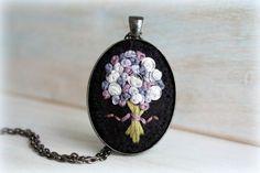Embroidered Jewelry. Felt Pendant. Pendant Necklace. Lavender Bouquet. Cute…